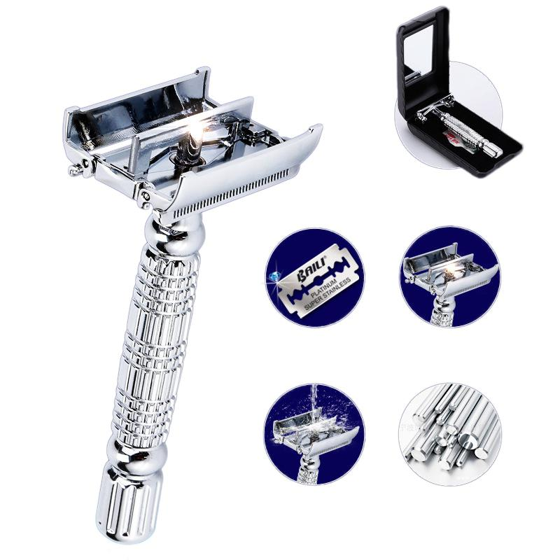 Wet Shaving Twin-bladed Razor Chrome Long Handle Safe Butterfly Open Head Shaver with 1 Platinum+ Blades and 1 Mirrored Box