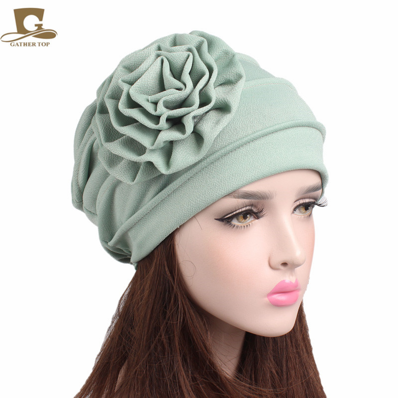 8ce712cd6c1 New Women big Flower ruffle slouchy beanie Turban Chemo Cap hair loss Hat-in  Skullies   Beanies from Apparel Accessories on Aliexpress.com