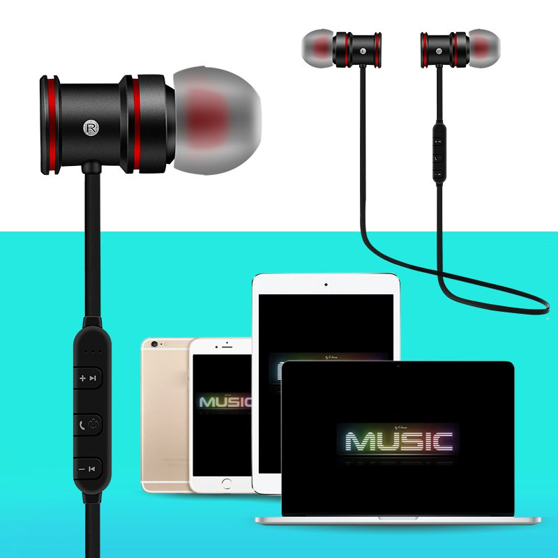 Magnet Metal Sports Bluetooth Earphone Wireless Earbud Stereo Headset With Mic