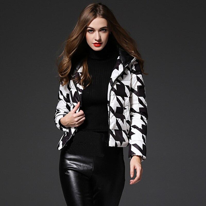 New Arrivals White-Black Pattern Winter Women Down Jacket Warm Fashion Hooded Duck Down Coat sha011