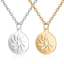 2019 Titanium Stainless Steel Round Tag Charm Necklace Silver Tone Long Gold Chain Sun Pattern Pendant Necklace for Men Jewelry цена 2017