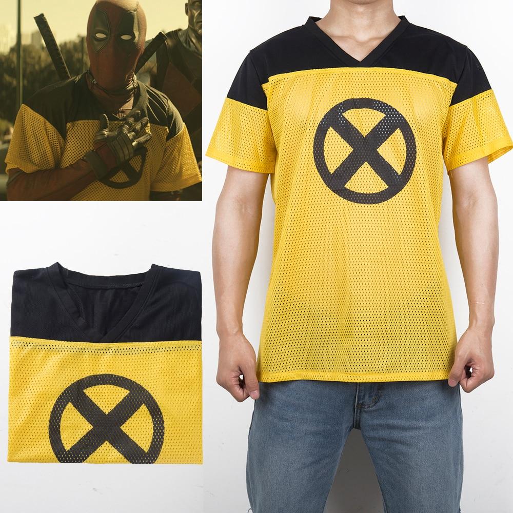 1 pcs 2 T-Shirt Deadpool Superhero Amarelo Magro Curto Poliéster Mens T-shirts t-shirt de Manga Curta Cosplay Traje de Halloween