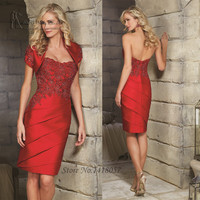 Fashion Champagne Red Lace Short Mother of the Bride Dresses Knee Length Women Evening Gowns with Jacket Vestidos de Gala