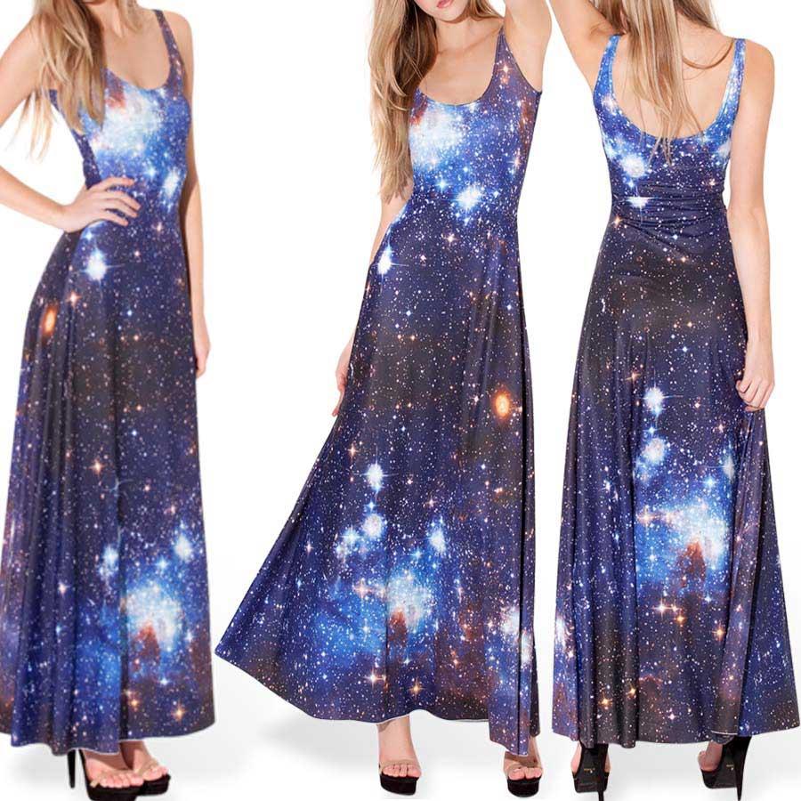 Blue Galaxy Dress Women Long Dress Sleeveless Maxi Dresses For Woman ...