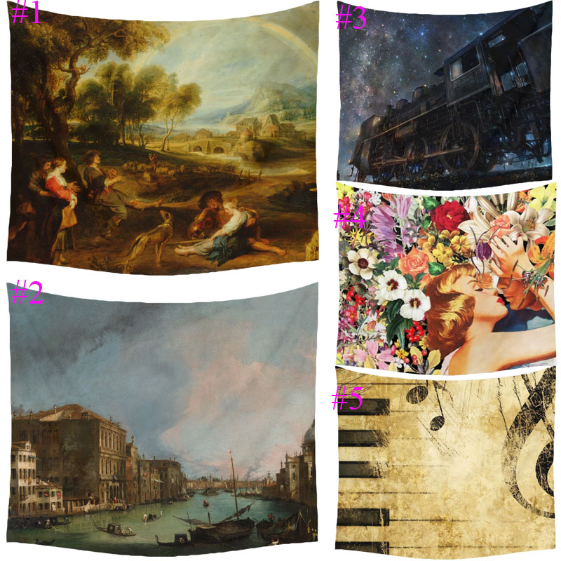 Comwarm Six Artistic Printed Romantic Town Forest People Painting Art Polyster Tapestry Wall Hanging Gobelin Bedroom Home Decor