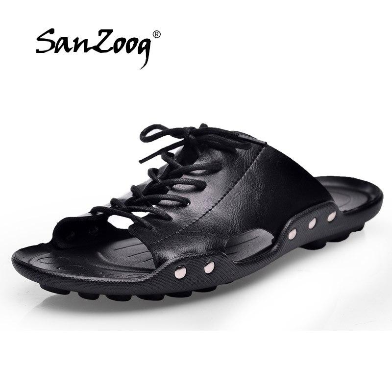 5c644bed166c sanzoog 2018 genuine leather sandals men shoes closed toe leather men s sandal  summer beach man shoes flats mens sandalet