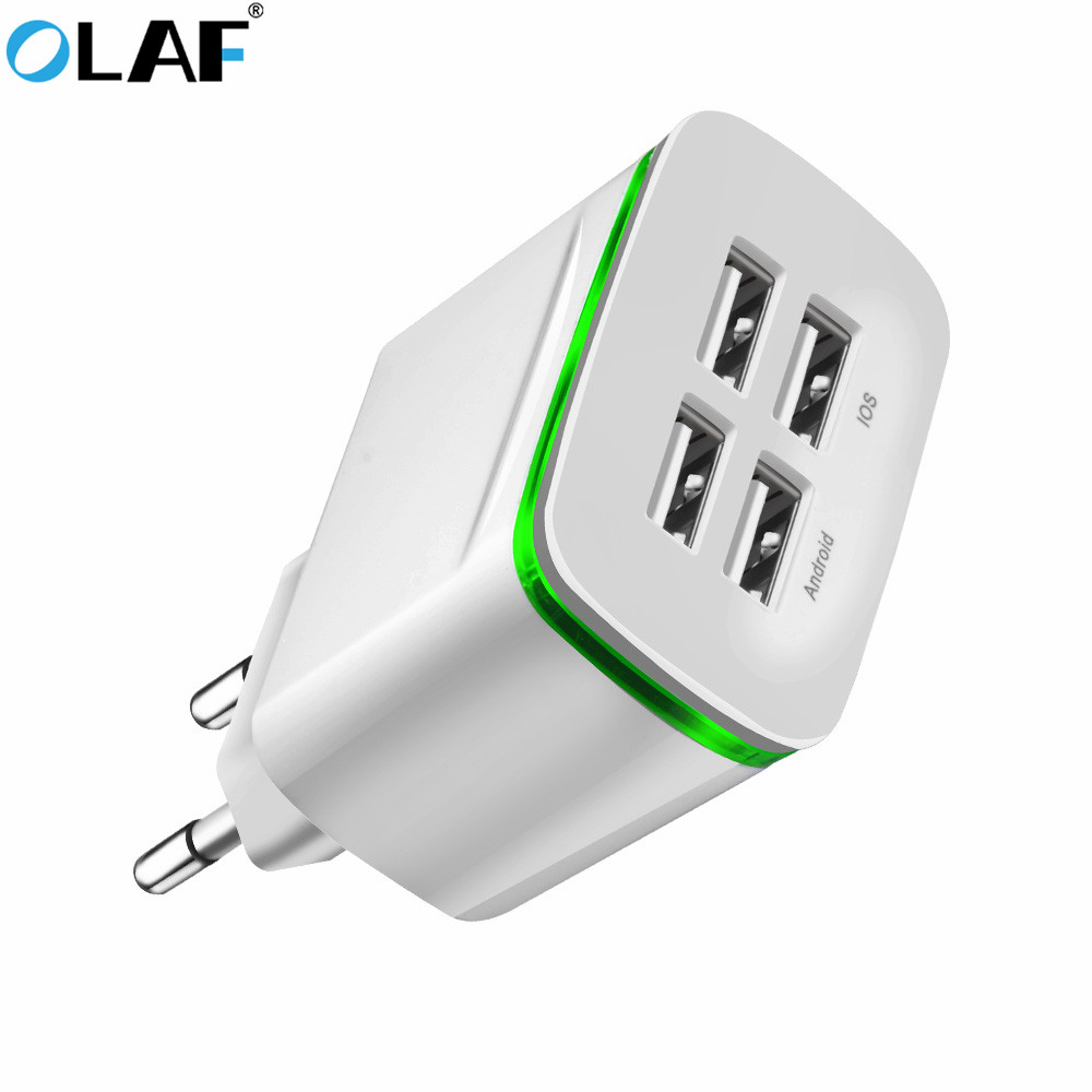 Olaf LED 4 Ports USB Charger for iPhone Xiaomi Samsung Fast Charge EU Plug 5V 4A Wall Adapter Mobile Phone Universal Charging