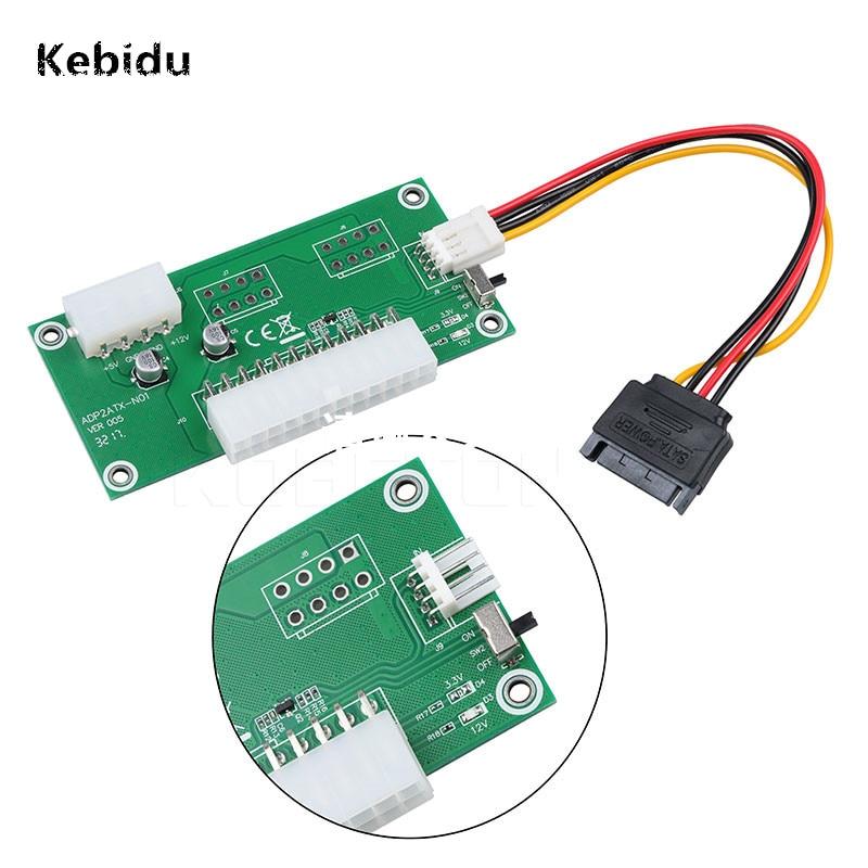 Kebidu PC Desktop ATX 24-Pin PSU Dual Power Início Síncrono Cabo Extensor forBitcoin Litecoin Mineiro Com Interruptor Manual