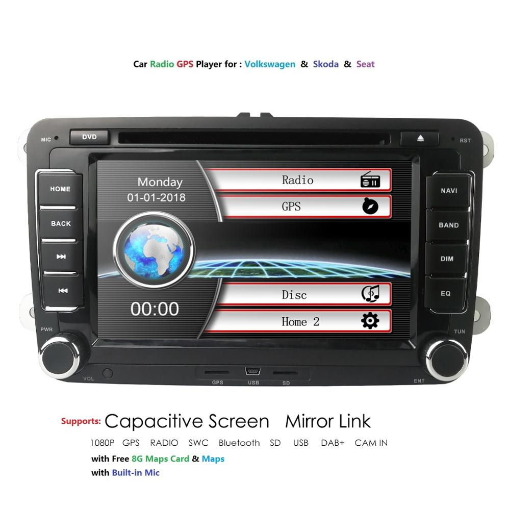 Lecteur multimédia de voiture 2 Din DVD de voiture pour Volkswagen/Golf/Polo/Tiguan/Passat/b7/b6/SEAT/leon/Skoda/Octavia Radio GPS DAB