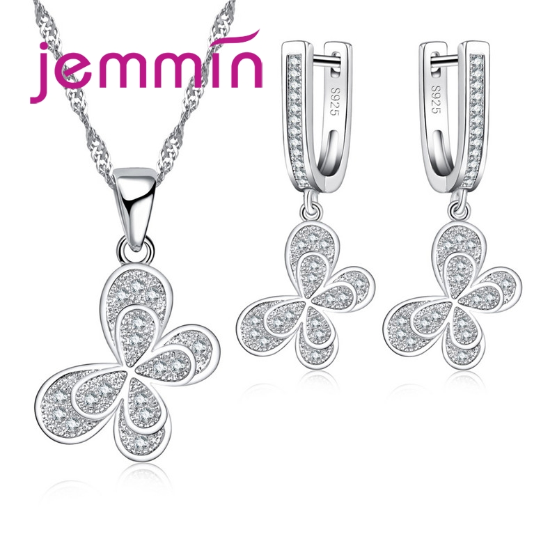 New Fashion 925 Sterling Silver Butterfly Jewelry Set  For Women Girls Kid  Jewelry Wild Animal Party Gift Free Shipping