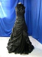 Timeless Black Taffeta Halter A Line Wedding Dress With Court Train Bridal Dress