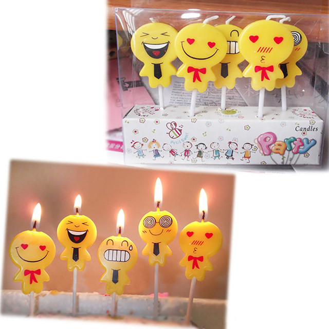 5Pcs Set Cute Emoji Cake Candles Birthday Wedding Party Celebrations Kids Candle Supplies Wholesale Free Shipping 60