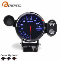 Red 80mm Defi Tachometer Gauge Red Green Warning Auto Meter Auto Gauge Black Face Blue Led