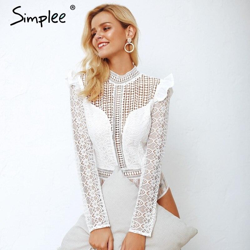 Simplee Elegant long sleeve women lace bodysuit Sexy Turtleneck hollow out crochet bodysuit Women slim fit romper   jumpsuit