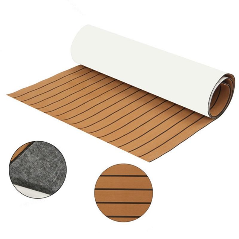 90x230x0.6cm EVA Foam Teak Sheet Self Adhesive Dark Brown Boat Mat Yacht Synthetic Decking Foam <font><b>Floor</b></font> Mat Wholesale