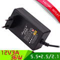 1Pcs High Efficient AC 100-265V to DC 12V 3A Adapter Switching Power Supply Charger For LED Strips Light EU Plug