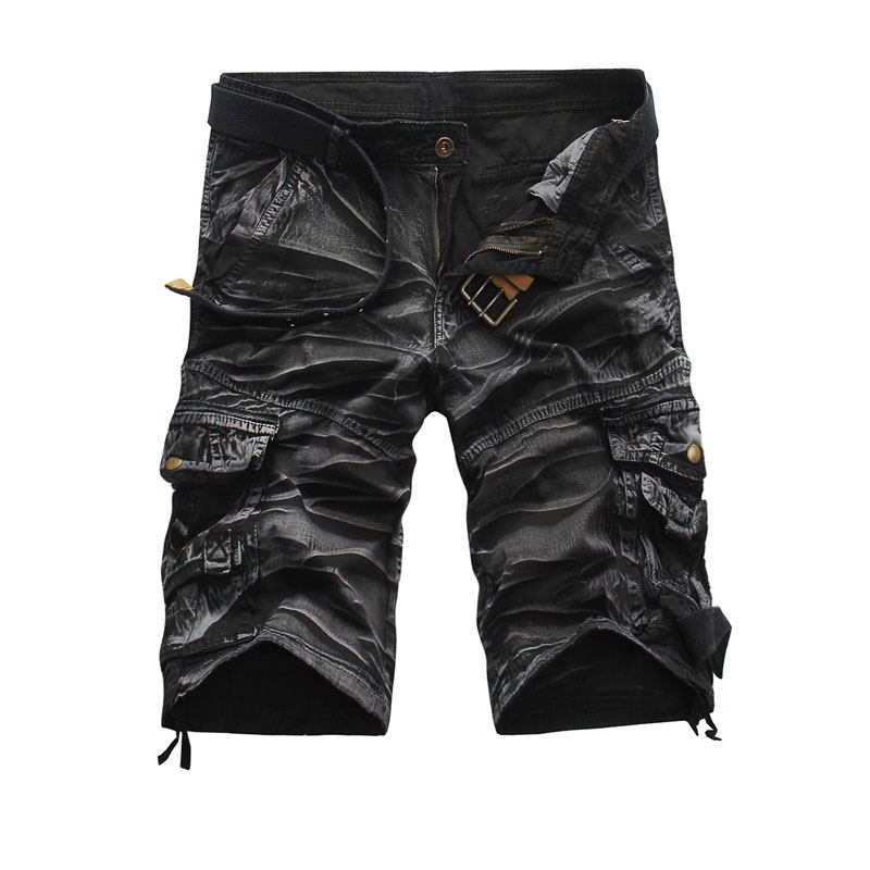 England Style Men Summer Short Pants Knee Length Military Cargo Shorts Camouflage Trousers Loose Bermuda Trousers Multi-Pockets