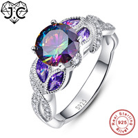 J.C Female Gorgeous Fine Jewelry Classic Rainbow & Amethyst & Pink & White Topaz Solid 925 Sterling Silver Ring Size 6 7 8 9
