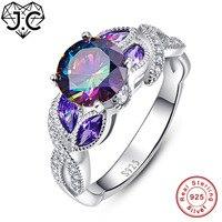 JC Nữ Tuyệt Đẹp Đồ Trang Sức Mỹ Cổ Điển Cầu Vồng & Amethyst & Pink & trắng Topaz Rắn 925 Sterling Silver Ring Kích 6 7 8 9