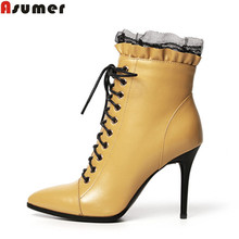 large size 2016 winter new fashion women boots stiletto high heels pointed toe shoes genuine leather solid black ankle boots