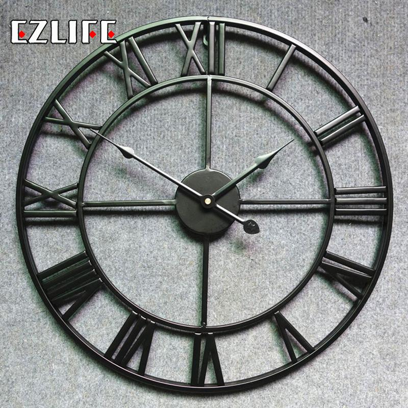 New 3D Circular Retro Roman 45x45cm Wrought Hollow Iron Vintage Large Mute Decorative Wall Clock On