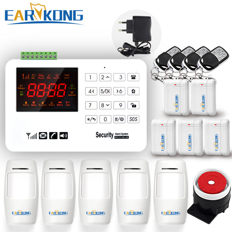 Earykong GSM Alarm System Capacitive Touch Keyboard Color Screen Voice Prompt English Russian Spanish Door Magnet PIR Detector 1 pair stand alone gsm magnetic door open alarm car windows anti thief support russian english black color