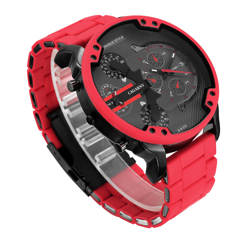 top luxury brand cagarny analog quartz watch for men two time zones auto date cool big case military watches red silicone band sports men's wristwatches dz dz7370 (2)