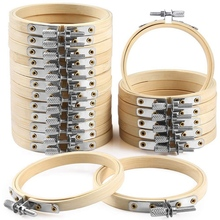 20 Pieces 3 Inch Bamboo Embroidery Hoops Round Wooden Circle Cross Stitch Hoop Round Ring For Art Craft Handy Sewing