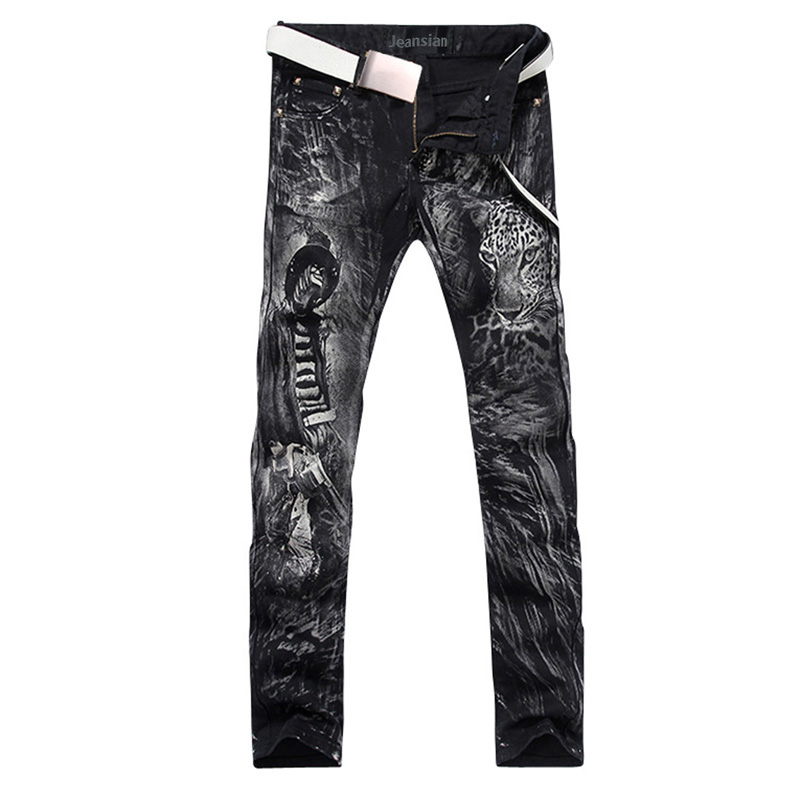 2017 new fashion straight leg jeans long men male printed denim pants cool cotton designer good quality brand trousers  MJB014