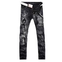 2016 New Fashion Straight Leg Jeans Long Men Male Printed Denim Pants Cool Cotton Designer Good