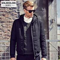 Enjeolon Cotton Padded Hooded Jacket Men Waterproof Brand Parka Men Clothing Thick Quilted Black Shrot Coat