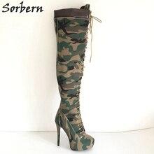 Sorbern Camouflage Over Knee High Female Boots Long Canvas Bota Feminina Extra Heels Platform Shoes Women Winter Style