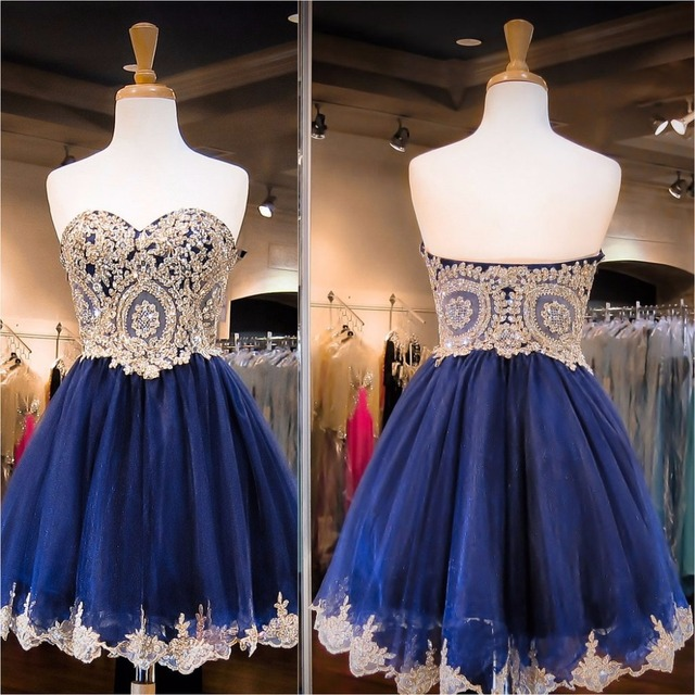 706fa58574832 US $117.63 |2016 Cute Gold Appliques Navy Blue Short Prom Cocktail Dresses  Sweetheart Juniors Cocktail Party Dresses Robe De Cocktail-in Cocktail ...