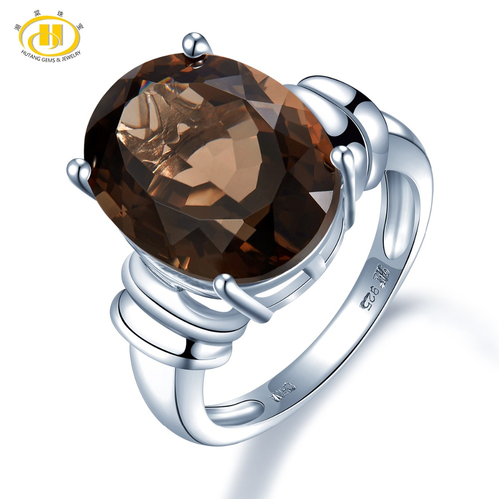 Hutang Engagement Ring 8.97ct Natural Smoky Quartz Solid 925 Sterling Silver Wedding Fine Fashion Stone Jewelry For Womens GiftHutang Engagement Ring 8.97ct Natural Smoky Quartz Solid 925 Sterling Silver Wedding Fine Fashion Stone Jewelry For Womens Gift
