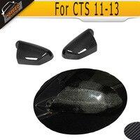 Углеродного волокна зеркала автомобиля чехлы Шапки для Cadillac CTS 2009 2013 добавить на Стиль