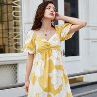 ARTKA 2019 Summer Women Dresses 100% Cotton Loose V neck Dress Retro Puff Sleeve Dress Elastic Back Design For Women LA13594X