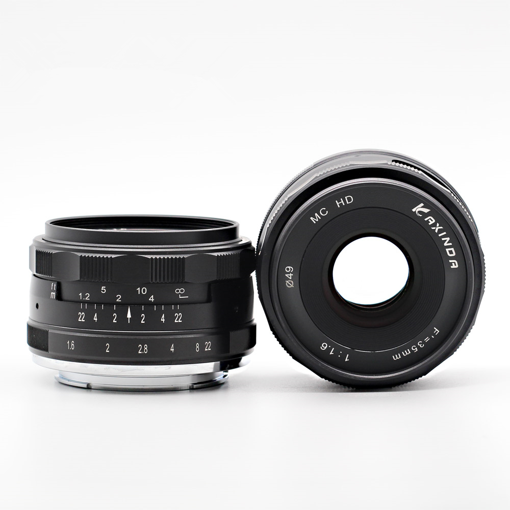 Silver Black 35mm f/1.6 Manual Lens for Fujifilm Fuji FX X T20 X T10 X T2 X T1 X A3 X A2 X PRO2 X E1 X E2 X E3 X M1 35 mm F1.6-in Camera Lens from Consumer Electronics    1