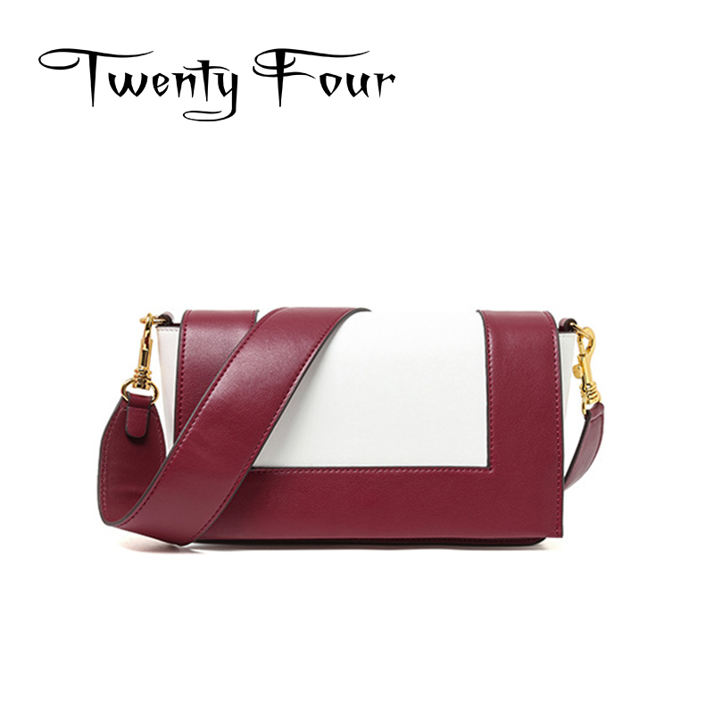 Twenty-four Female Genuine Leather Handbags Fashion Style With Color Blocking Cover Simplicity New Designer Lady Messenger Bags