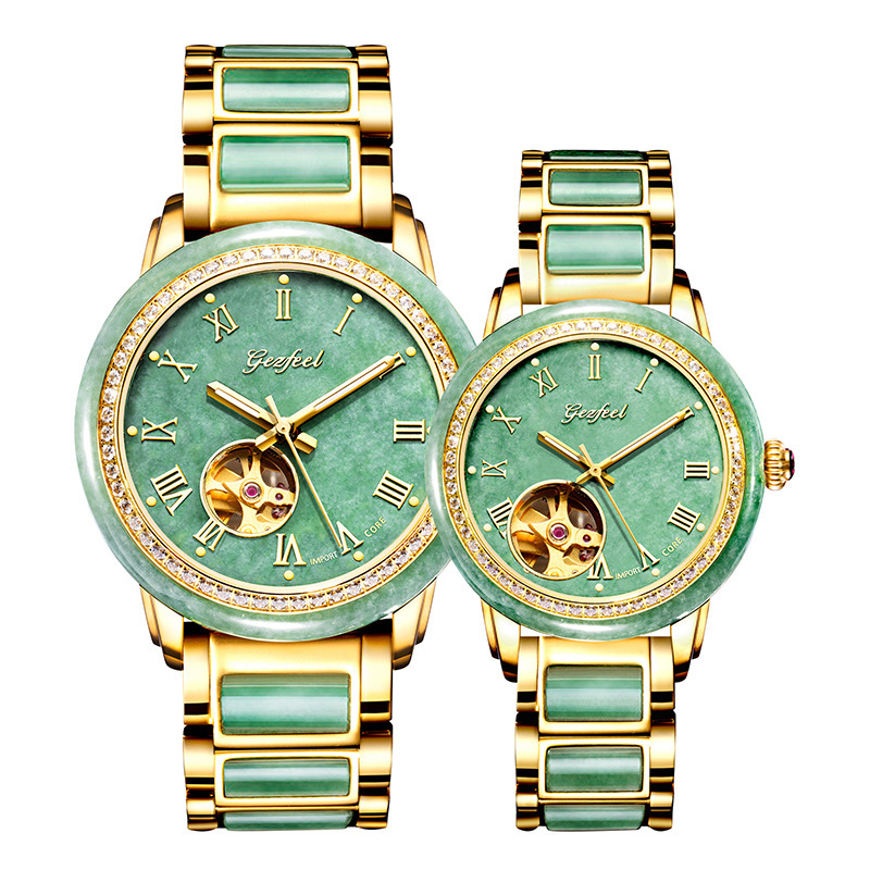 2020 Factory Custom Emerald Watch New Lovers Set Auger Hollow Out A Undertakes To Fully Automatic Mechanical