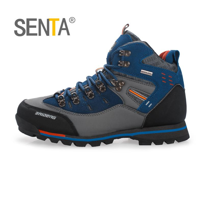SENTA Hot Hiking Boots Men Outdoor Spring/Summer Leather Hiking Shoes Big Size Trekking Boots Breathable Mountain Climbing Shoes 2018 hiking boots 2017rax spring summer hiking shoes men breathable outdoor 3 8women antiskid walking shocking offroad climbing