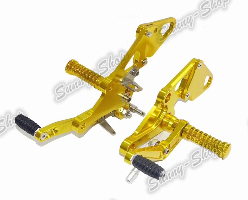 Motorcycle Adjustable Rider Rear Sets Rearset Footrest Foot Rest Pegs Gold For Yamaha MT-07 mt07 FZ-07 FZ07 2014 2015 2016