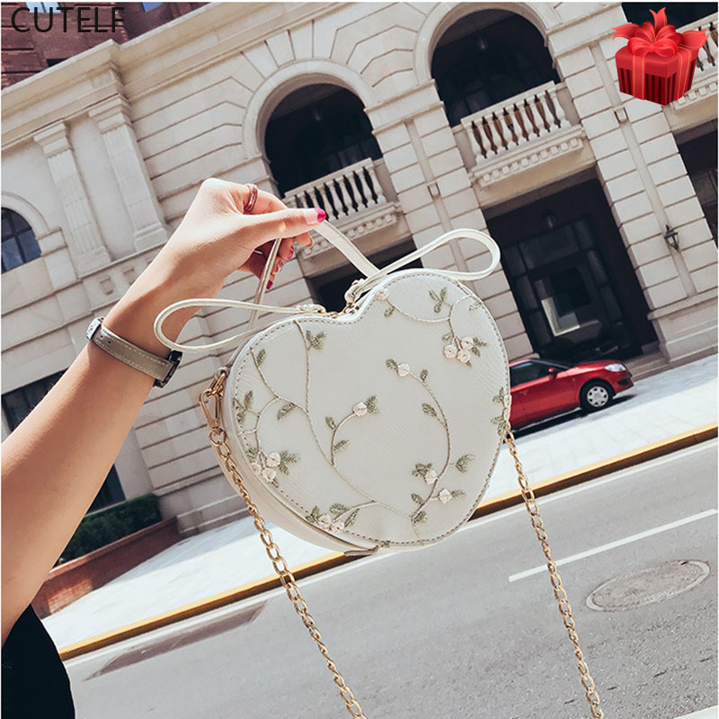 Ins Hot sale Floral Embroidery Handbag Purse Shoulder Bag Heart Shaped Leather Chain Messenger Bags Crossbody Clutch Small  Bag Сумка