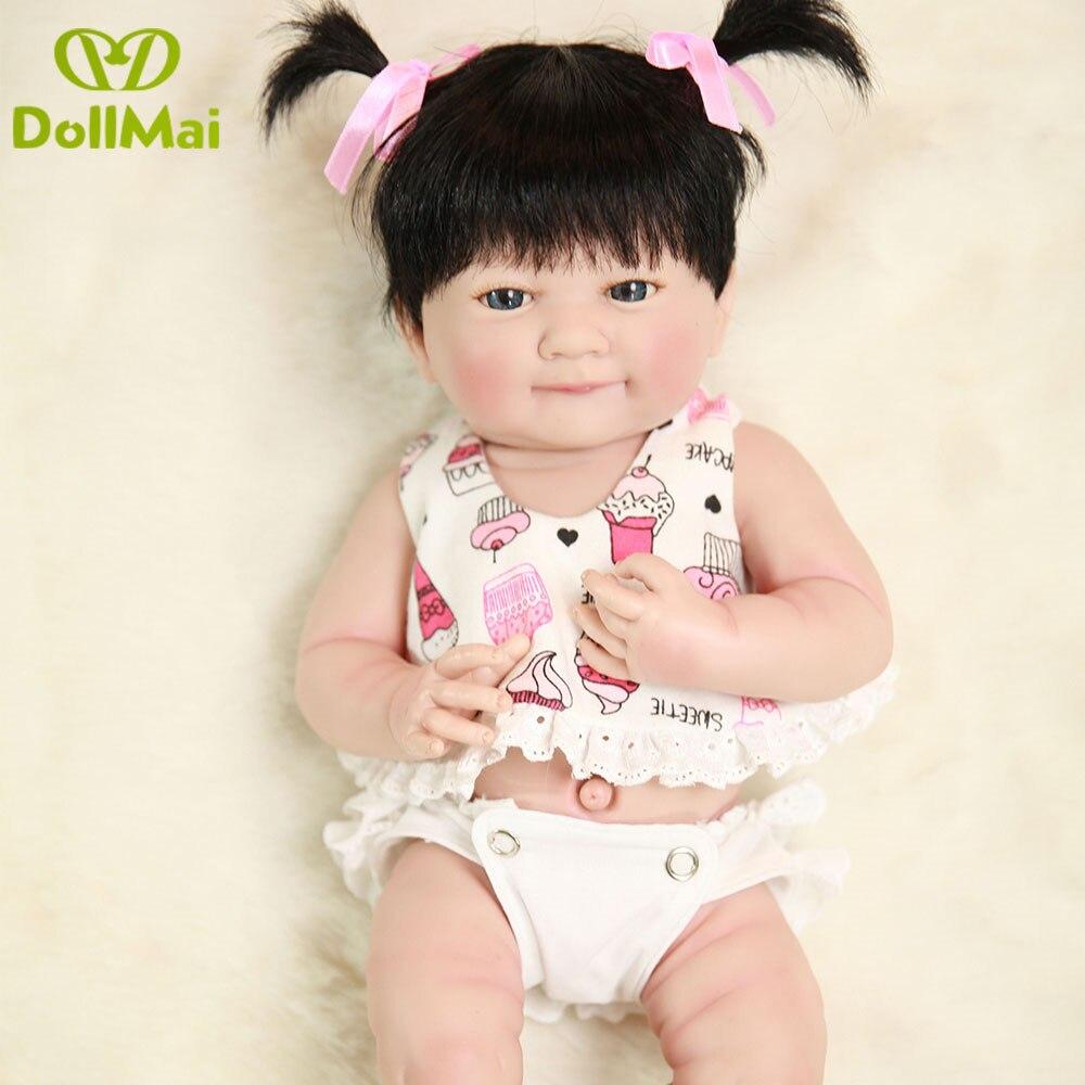 """Oyuncaklar ve Hobi Ürünleri'ten Bebekler'de Bebes reborn kız babydoll 14 """"35 cm tam silikon vinil reborn bebek bebekler yenidoğan bebekler kız can bathe oyuncak bebek hediye'da  Grup 1"""