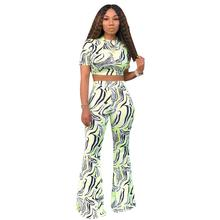 цена на Zebra Pattern Print 2 Piece Set Women Casual O Neck Short Sleeve Crop Top With Long Pants Women Set Sexy Bodycon Women Outfit