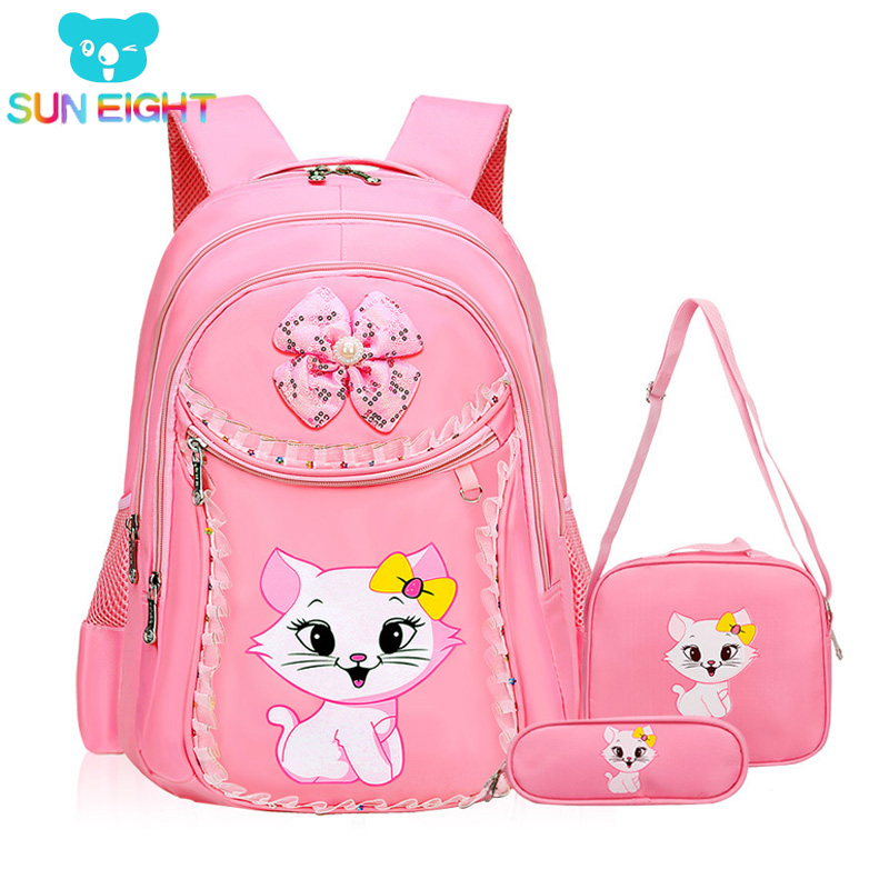 SUN EIGHT Sweet Cat Girl's School Bags Cartoon Pattern Kid Backpack Children School Backpack Girl Bag mochilas escolares infanti
