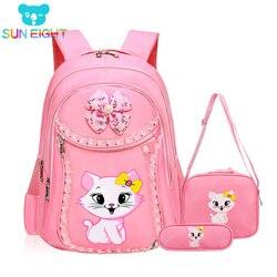 SUN EIGHT Sweet Cat Girl's School Bags Cartoon Pattern Kid Backpack Children School Backpack Girl Bag mochilas escolares infanti