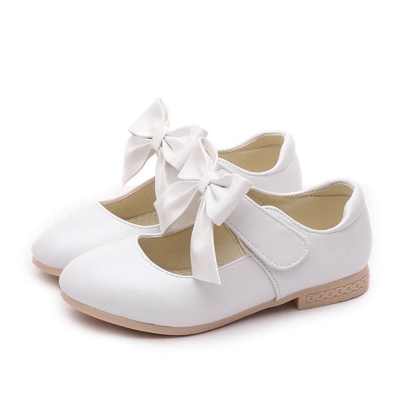 COZULMA Baby Girls Leather Shoes Princess Mary Jane Bow Flower Dress Shoes Children Casual Shoes Kids Low Heeled Dance Shoes