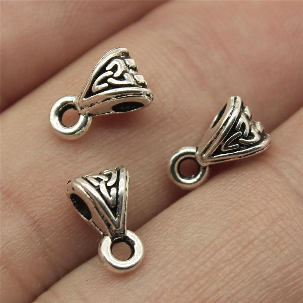 WYSIWYG 40pcs 9x5x5mm Beads Bails Pendants Jewelry Making DIY Necklace Beads Bails Pendants Charm Beads Bails