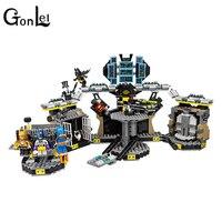 GonLeI 1087pcs 10636 BATMAN MOVIE Batcave Break in Building Blocks set DIY Bricks toys Gift for children Compatible With 70909