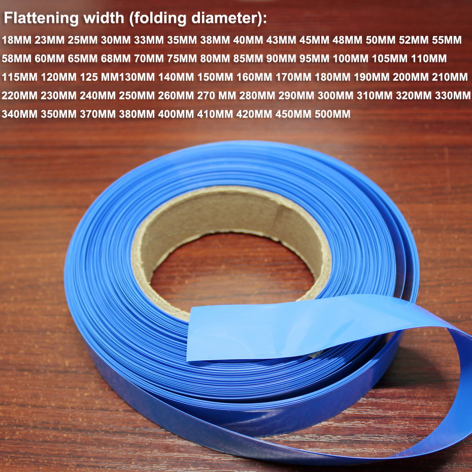 1kg 30MM Wide Blue Battery PVC Heat Shrinkable Sleeve DIY Skin Replacement Package Insulating Film